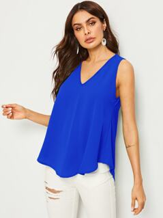 Solid High Low Hem V Neck Top