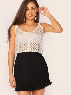 Scalloped Edge Crochet Knit Button Front Crop Tank