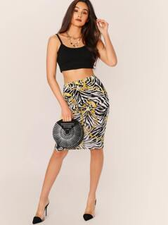 Elastic Waist Chain And Zebra Print Pencil Skirt