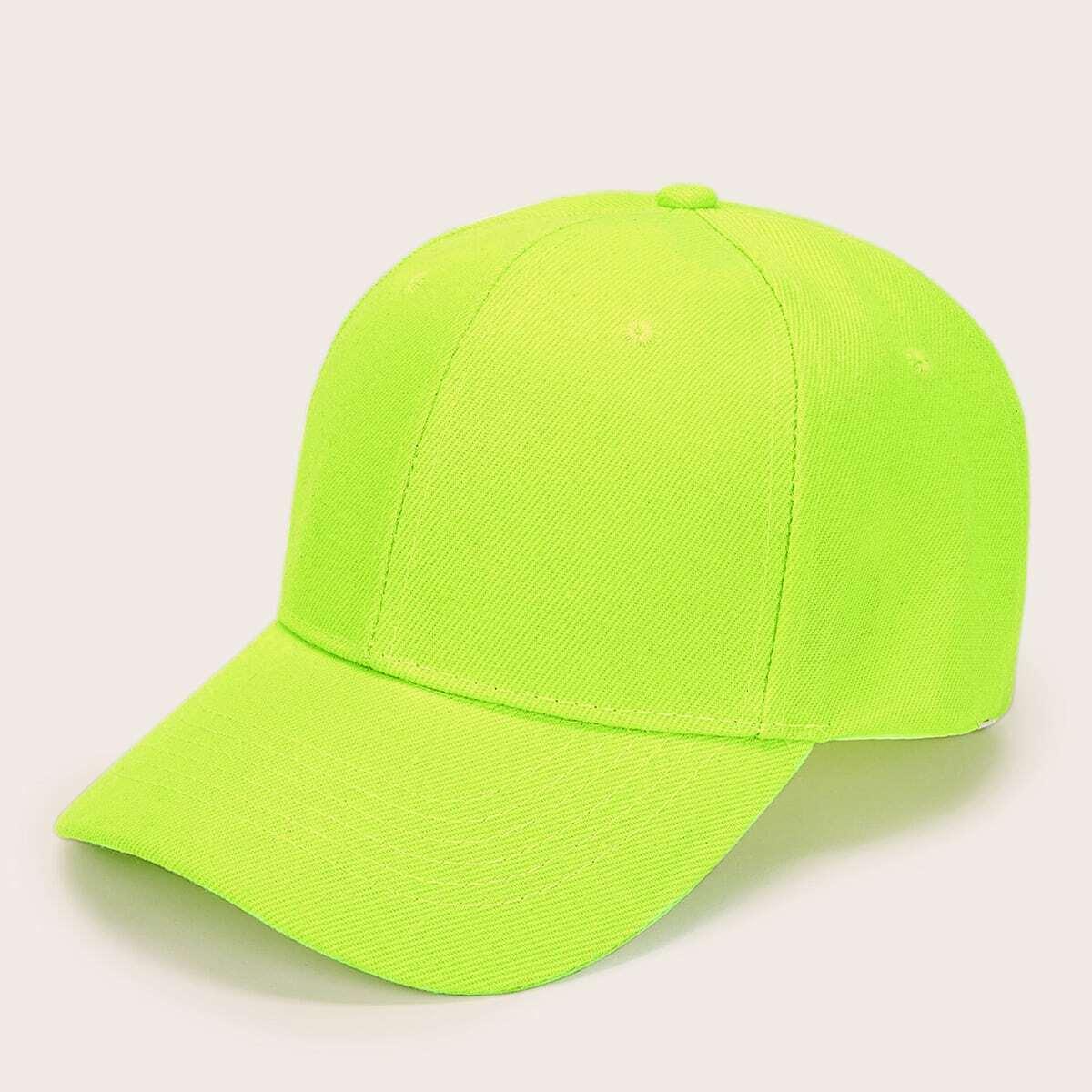 Мужская неоновая зеленая бейсболка от SHEIN