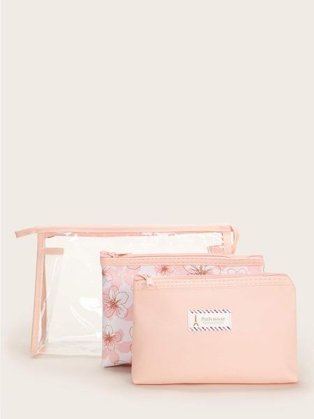 Transparent & Floral Pattern Makeup Bag Set 3pcs
