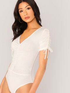 V-neck Knot Sleeve Ruched Detail Bodysuit