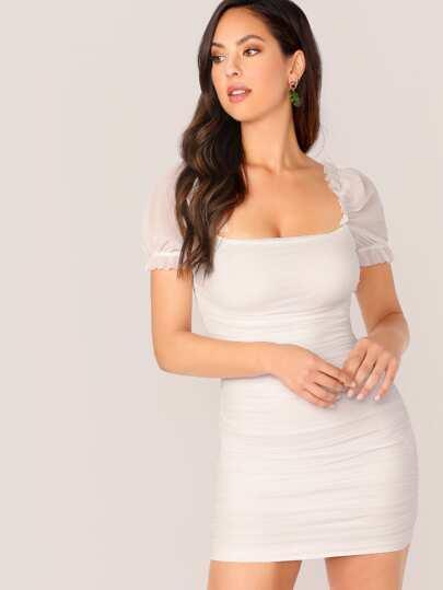 Фото 7 - Контрастная блуза размера плюс с оригинальным рукавом от SheIn цвет чёрные