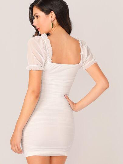 Фото 6 - Контрастная блуза размера плюс с оригинальным рукавом от SheIn цвет чёрные