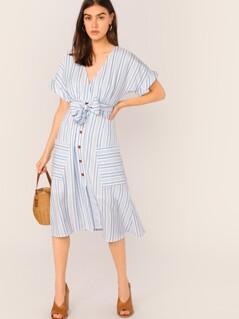 Surplice Neck Cuff Sleeve Patch Pocket Striped Belted Dress