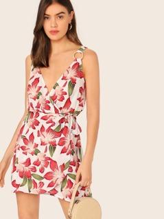 O-ring Strap Tie Waist Floral Print Dress