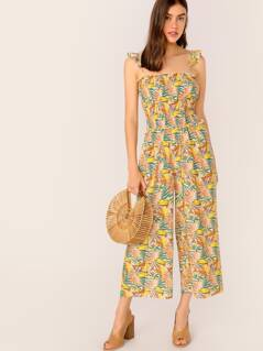 Tropical Print Shirred Bodice Wide Leg Jumpsuit