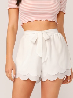 Belted Layered Scallop Hem Shorts