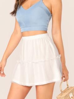 Solid Frill Trim Mesh Overlay Skirt