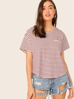 Drop Shoulder Curved Hem Striped Top