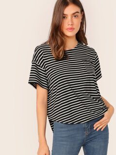 Drop Shoulder Striped Curved Hem Top