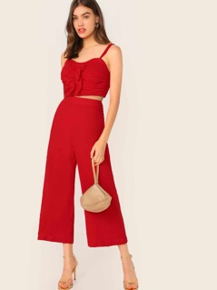 Shirred Back Ruched Cami Crop Top & Palazzo Pants Set