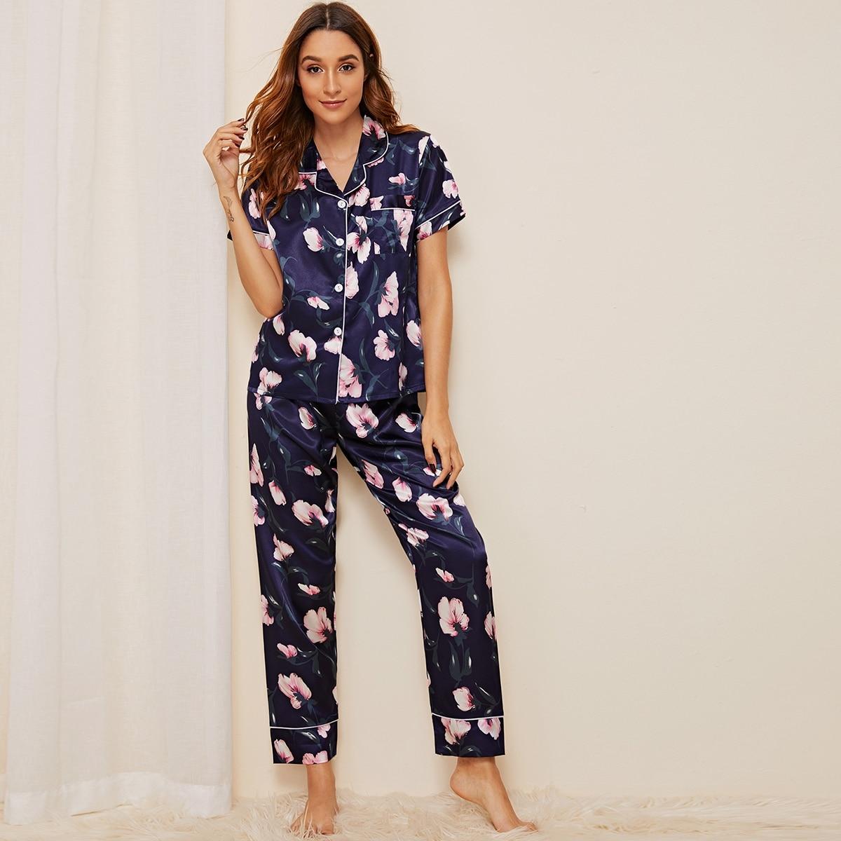 Атласная пижама с цветочным принтом от SHEIN