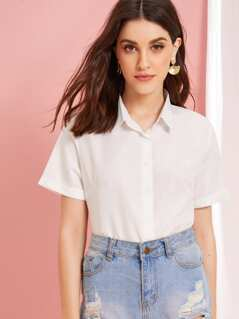Solid Button Through Roll Up Sleeve Blouse