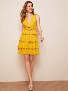 Layered Ruffle Hem Plunge Neck Belted Dress