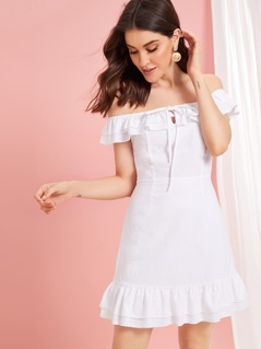 Off Shoulder Ruffle Trim Knotted Dress