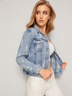 Ripped Bleach Wash Denim Jacket