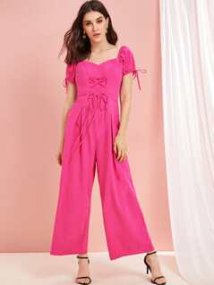 Neon Pink Lace Up Sweetheart Neck Wide Leg Jumpsuit