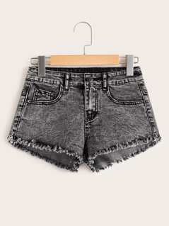 Acid Wash Raw Hem Denim Shorts