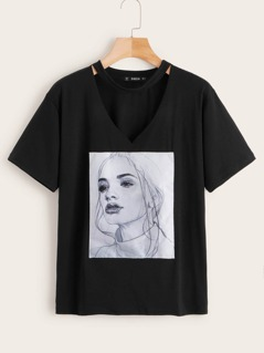 Figure Patch V-cut Neck Tee