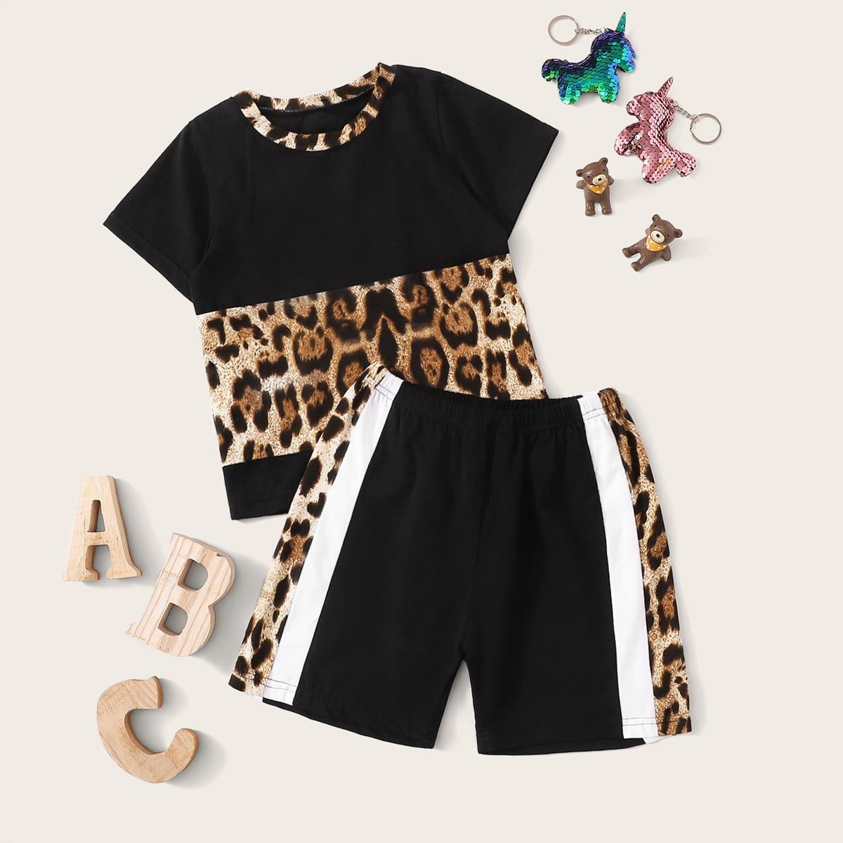 Леопардовая футболка-и шорты для девочек от SHEIN