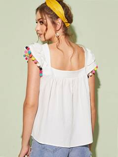 Colorful Pompom Detail Smock Top
