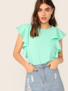 Exaggerated Ruffle Solid Top