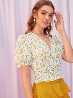 Floral Print Puff Sleeve Shirred Panel Top