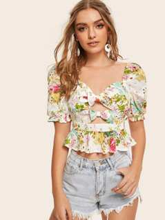 Ditsy Floral Bow Front Peekaboo Peplum Top