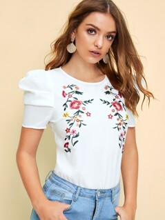Keyhole Back Puff Sleeve Embroidery Floral Top