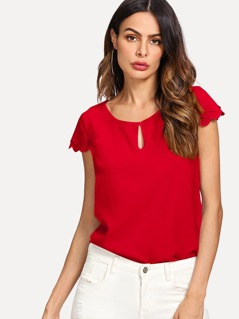 Keyhole Neck Layered Scalloped Sleeve Top
