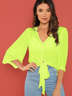 Neon Lime Tie Front Semi Sheer Top