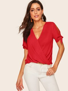 Knot Cuff Wrap Draped Solid Top