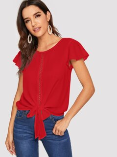 Lace Insert Tie Front Butterfly Sleeve Top