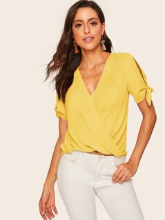Split Sleeve Knot Cuff Wrap Top