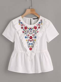 Botanical Embroidered Ruffle Trim Top