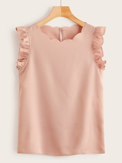 Plus Ruffle Armhole Scallop Edge Top