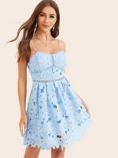 Fit & Flare Guipure Lace Overlay Bustier Cami Dress