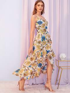 Botanical Print Ruffle Trim Dip Hem Wrap Cami Dress
