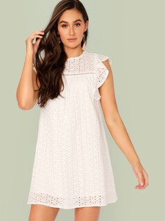 Keyhole Back Ruffle Armhole Schiffy Tunic Dress