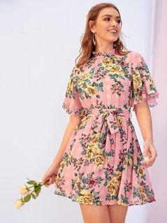 Frill Neck Flutter Sleeve Belted Mixed Print Dress