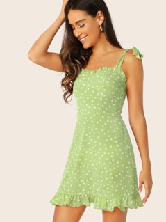 Tied Shoulder Frill Trim Polka Dot Dress