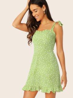 Tied Shoulder Frill Trim Polka Dot Dress