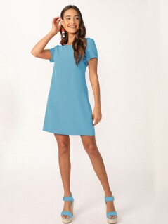 Solid Short Sleeve Tunic Dress