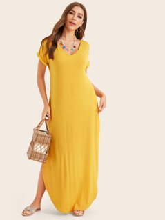 Rolled Cuff Curved Hem Maxi Dress