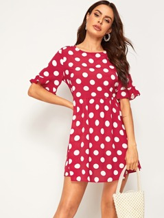 Polka Dot Flounce Sleeve Dress
