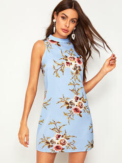 Floral Print V-cut Back Dress