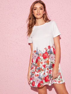 Keyhole Back Floral Print Dress