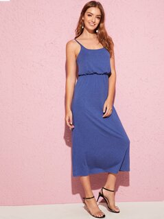 Solid Blouson Slip Dress