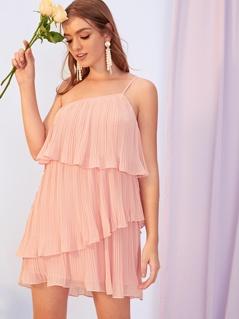 One Shoulder Layered Ruffle Plisse Slip Dress